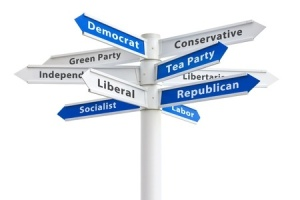12432265 - political parties on a crossroads sign featuring democrat and republican